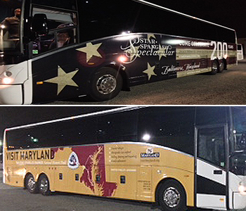 Picture of coach bus wrapped to promote 2014 Star-Spangled Spectacular