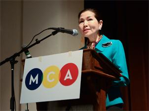 First Lady Yumi Hogan speaking at Maryland Arts Day