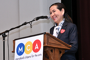 First Lady Yumi Hogan speaking at the 42nd Maryland Arts Day event in Annapolis.