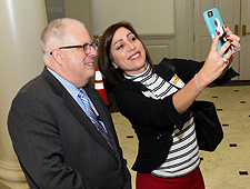 Pictured: Governor Larry Hogan Poses with Marian N. Hrab, Director of Sales & Marketing, The Hotel at the University of Maryland at Maryland. Photo credit: Joe Andrucyk.