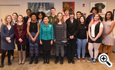 Pictured: First Lady Yumi HOgan with art students
