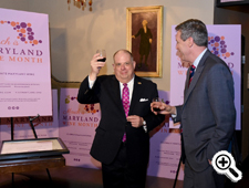 Pictured: Governor Larry Hogan with Kevin Atticks, founder, Grow & Fortify, offers a toast to celebrate Maryland Wine Month