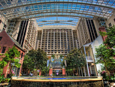 Pictured: The grand atrium of the Gaylord Resort at National Harbor