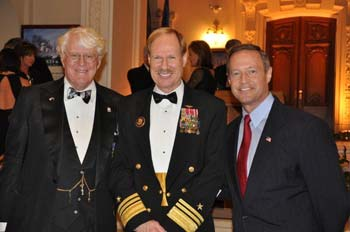 Governor O'Malley joins William I. Koch and Vice Admiral Michael H. Miller, Superintendent of the Naval Academy.
