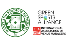 Logos for the Maryland Stadium Authority, Green Sports Alliance and the International Association of Venue Managers