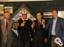 Pictured (left to right): Peter Franchot, Comptroller of Maryland;James Eichhorst, Deputy Secretary of the Maryland Department of Agriculture; Ben Wu, Assistant Secretary of the Maryland Department of Commerce; and Kevin Attics, Executive Director, Brewers Association of Maryland.