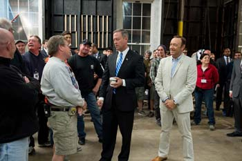 Gov. O'Malley tours the House of Cards set with Kevin Spacey and the film crew.