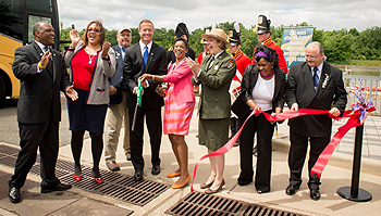 Gov. Martin O'Malley was at the Bladensburg Waterfront Park to officially cut the ribbon on the Star-Spangled Banner National Historic Trail to coincide with the beginning of Maryland's Chesapeake Campaign.