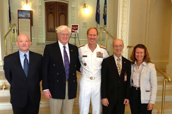 Pictured: Bill Pencek, executive director, Maryland War of 1812 Bicentennial Commission; William Koch, exhibit donor; Michael Miller, superintendent, U.S. Naval Academy (USNA); Grant Walker, director of education, USNA; and Sara Phillips, architect, USNA. (Photo courtesy of Jacob Austin)