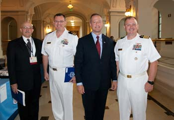 Photo (l to r): Bill Pencek, the commission's executive director; Lt. Cmdr. Claude Berube, director, U.S. Naval Academy Museum; Gov. Martin O'Malley; and Capt. Henry J. Hendrix II, director, Naval History and Heritage Command.