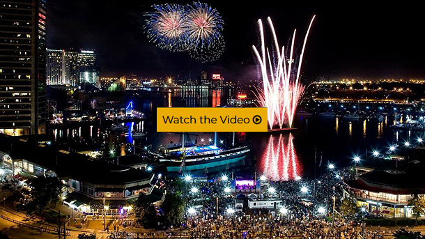 Fireworks display at the Inner Harbor of Baltimore