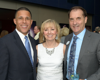 Lt. Gov. Anthony Brown is joined by National Aquarium CEO, John Racanelli (L) and his wife Susan at the opening of Blacktip Reef exhibit
