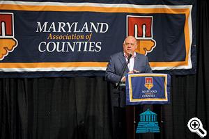 Governor Larry Hogan spaeking at the MACo conference.