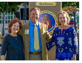 Pictured from L to R, Barbara Bershon, Maryland State Arts Council chair, Dan Burris, mayor, Leonardtown, Hannah Byron, assistant secretary, Tourism, Film and the Arts