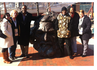 Photo: Group poses at the Frederick Douglass-Isaac Myers Maritime (shown left to right): Amber Degrace (Huffington Post), Michele Zavatsky (KidsLoveTravel.com, casualgetaways.com), Tom Saunders (Renaissance Tours), Wayne Young (Port of Harlem), Renee Gordon (Philadelphia Sunday Sun), and Camila Clark (OTD)