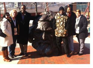 Photo: Group poses at the Frederick Douglass-Isaac Myers Maritime (shown left to right): Amber Degrace (Huffington Post), Michele Zavatsky (KidsLoveTravel.com, casualgetaways.com), Tom Saunders (Renaissance Tours), Wayne Young (Port of Harlem), Renee Gordon (Philadelphia Sunday Sun), and Camila Clark (OTD)