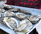 Person holding a tray of oyster shucked