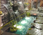 Home and Garden Display with a Waterfall