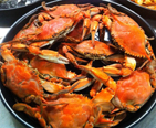 A pot of steamed crabs