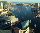 Picture of the Inner Harbor in Baltimore filled with sail boats