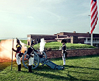 Canon shot reenactment at Fort McHenry.