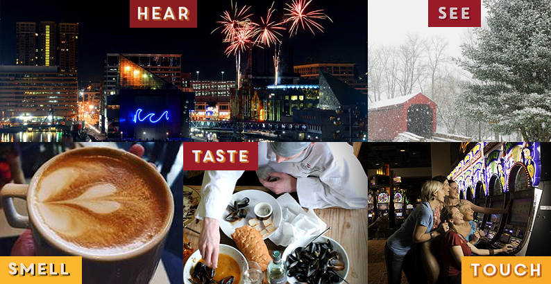 Collage of images, top left to bottom right - Fireworks at Baltimore's Inner Harbor, snow covered bridge and tree, hot cup of cocoa, man tasting muscles, women playing a slot machine at a Maryland Casino.