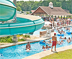 People swimming at a water park