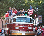 Fire truck in a parade for Independence Day.
