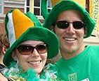 A couple celebrating St. Pastrick's Day