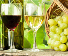 Two glasses of wine and a basket of green grapes