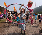 Kids parading at DelFest