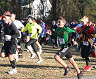 Runners participating in a Turkey Trott race on Thanksgiving
