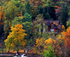House on a hill in fall foliage