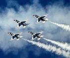 U.S.A.F Thunderbirds performing a stunt