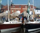 Sailboats on display at the Sailboat Show.