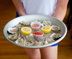 Platter of oysters.