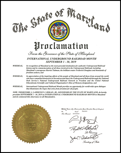 Governor Hogan Proclaims September as International Underground Railroad Month